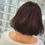 お客様☆暖色系プラムピンクのワンレンボブ☆