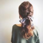 ローポニーテールのスカーフ・バンダナアレンジ✨人と差を付けたヘアアレンジに♪